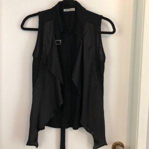 Tops - Black Drape Vest  - cotton/ polyester - Small